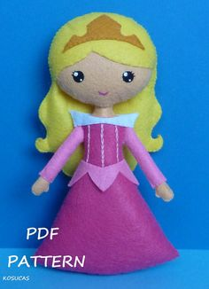 PDF sewing pattern to make a felt doll inspired in por Kosucas