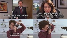 When Liz told the truth about that year abroad. I am so much like Liz Lemon that sometimes I think Tina Fey designed her character just for me. Types Of Sparrows, Funny Images, Funny Photos, 30 Rock Quotes, We Are Bears, Laugh Track, Tina Fey, Good Jokes, Laughing So Hard
