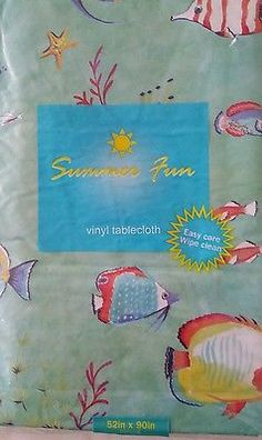 New In Pack Coastal Bright Fish Vinyl Tablecloth, 3 Sizes
