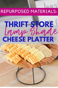 Here is a fun and unique way to use repurposed material from an old lamp shade and turn it into an upcycled cheese platter for your next party! #upcycle #repurpose #repurposedmaterial #upcycledlampshade #thriftstoremakeover #cheeseplatter Old Lamp Shades, Rustic Backsplash, Mother Daughter Projects, Old Lamps, Sola Wood Flowers, Metal Trays, Repurposed Items, Cheese Platters, Boho Diy