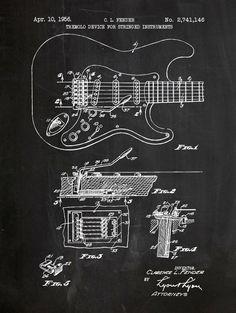 Fender Stratocaster Guitar Patent 18x24 screen print decoration technical design blueprint schematic retro educational cool screenprint