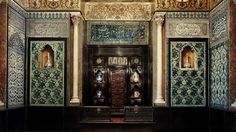 The Arab Hall in Leighton House Museum.   Orientalist and aesthetic interiors.  Built in 1864, extended in 1879 to house Lord Leighton's Arab tile collections, which is does to striking effect.