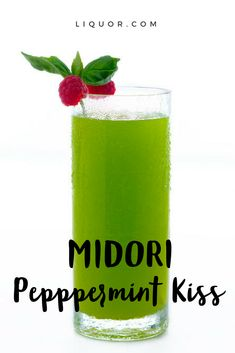 Try this minty and fruity cocktail with a hint of melon. The Midori Peppermint Kiss Cocktail is a perfect holiday cocktail. Fruity Cocktails, Vodka Drinks, Bar Drinks, Yummy Drinks, Alcoholic Drinks, Midori Cocktails, Beverages, Adult Holiday Drinks, Christmas Cocktails