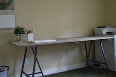 step by step table (could be a desk) tutorial with new wood finished with driftwood stain and legs from ikea