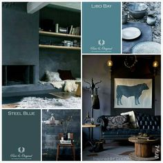 Inspiration with bleu and grey. Inspired by Color Blue Colour Palette, Colour Schemes, Color Palettes, Lime Paint, Tadelakt, Paint By Number, Beautiful Interiors, Color Inspiration, Inspiration Boards