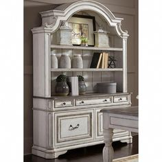 The Magnolia Manor Collection by Liberty Furniture offers gorgeous antiqued styled group that will bring charming aura into any decor! The furniture is made of Poplar Solids and Birch Veneers in Antique White Finish with White Oak Veneer Tops. Furniture Office, Cheap Bedroom Furniture, Home Office Decor, Kitchen Furniture, Cool Furniture, Living Room Furniture, Furniture Ideas, Furniture Design, Furniture Stores