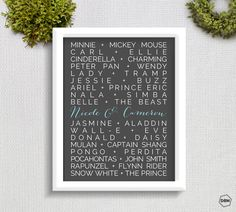 DISNEY COUPLES //// Art Print //// Customized by designsbynicolina, $20.00