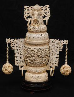 CHINESE IVORY CARVING | carved ivory concentric dragons urn antique chinese hand carved ivory ...