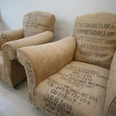 burlap sack covered chairs - love the look, maybe done in stamped material?