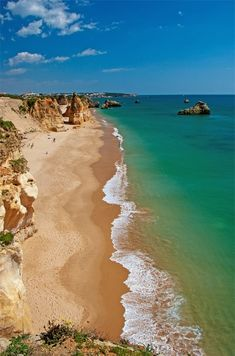 Vau Beach - Portimão, Algarve, Portugal - the beaches are beautiful (the Atlantic is a little chilly! Hotels In Portugal, Visit Portugal, Portugal Travel, Spain And Portugal, Oh The Places You'll Go, Places To Travel, Places To Visit, Portugal Strand, Alvor Portugal