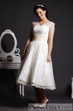 Tea Length Wedding Dresses | ... Sheer Shoulders Ruched Waist Layered Tea Length Lace Wedding Dress