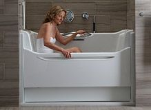With a low step-in, hydrotherapy jets, heated surfaces and more, the Kohler Walk-In Bath blends safety, comfort and affordability. Walk In Bath, Walk In Tubs, Handicap Bathroom, Small Bathroom, Bathrooms, Step In Tub, Mobiles, Bath Steps, Handicap Accessible Home