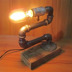 Iron Pipe Adjustable Bedside Table Desk Lamp Light Retro Industrial Style