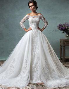 BacklakeGirls Real 2017 Wedding Dress With Big Detachable Train Tulle Lace Applique Bride Gown Vestido De Noiva