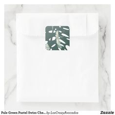 Pale Green Pastel Swiss Cheese Plant Square Sticker