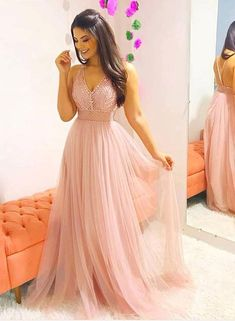Pink V Neck Party Dress Tulle Beaded Prom Dress Long Prom Dress, Pink Evening Dress Prom Dresses Long Pink, Winter Formal Dresses, Tulle Prom Dress, Homecoming Dresses, Sexy Dresses, Bridesmaid Dresses, Stylish Dresses, Peach Dress Long, Pink A Line Dress