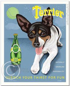 8x10 Rat Terrier Art  Terrier Perrier Spoof   by RetroPetsArt