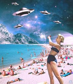 Collage art print featuring an alien invasion on a beach scene makes a unique addition to any room and a great gift to your weird friend who likes aliens. Trucage Photo, Photo Chat, Retro Kunst, Retro Art, Psychedelic Art, Photomontage, Aesthetic Art, Aesthetic Pictures, Surrealist Collage