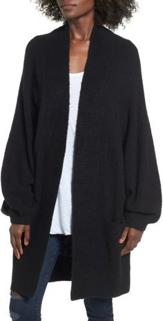 Women's Leith Blouson Sleeve Cardigan available in 4 different colors.