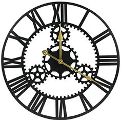 ShuaXin Large Home and Office Decorative Black Iron Wall Inch Antique Industrial Style Hollow Gear Big Roman Numerals Art Metal Wall Clock Big Wall Clocks, Black Clocks, Lounge Ideas, Iron Wall, Large Homes, Roman Numerals, Big Black, Industrial Style, Gears