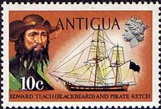 Antigua 1970 Ships and Captains Blackbeard and Pirate Ketch Fine Mint                    SG 276 Scott 248    Other West Indies and British Commonwealth Stamps HERE!