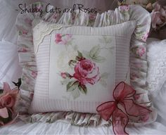 Raspberry Pink Rose Barkcloth Accent Pillow Eyelet Lace Ribbon Trim | eBay