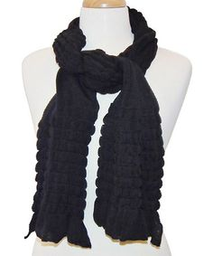 Look what I found on #zulily! Black Ruffle Knit Scarf #zulilyfinds