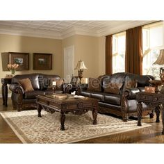North Shore - Dark Brown Sofa & Loveseat by Millennium. Get your North Shore - Dark Brown Sofa & Loveseat at Rooms For Less, Columbus OH furniture store. Formal Living Rooms, Living Room Sets, Living Room Decor, Dining Rooms, Sitemap Design, Dark Brown Sofas, Brown Couch, Leather Living Room Set, Sala Grande