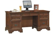 """66"""" Executive Desk by Aspen Home by Aspen Home. $1439.00. Lifetime Warranty. Executive Desks Richmond offers a timeless, traditional look in a warm cherry finish that easily fits within any style of home. This group includes thoughtfully designed features to help you work more easily and efficiently. Discover these features as you design your own work solution. Features include: *Convertible keyboard / pencil drawer *2 utility drawers and 1 file drawer per pedestal *Locki..."""