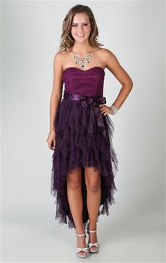 Deb Shops two tone strapless dress with high low tendril skirt and tie waist  $74.90
