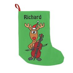 Funny Rudolph Reindeer Christmas Stocking #reindeer #Christmas #stocking #funny #cello #music And www.zazzle.com/naturesmiles*