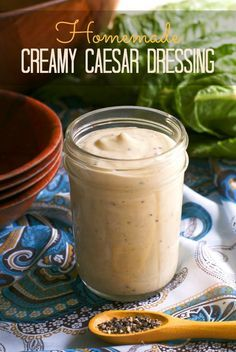 Homemade Creamy Caesar Salad Dressing ~ I will never buy bottled caesar dressing again!  So easy to make at home with ingredints I already had in my pantry.
