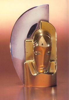 Art Deco Templier face brooch