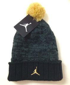 Ladies AIR JORDAN JUMPMAN POM BEANIE Dark-Green-ish-Gray&Gold Winter Knit Ski #Nike #Beanie #Winter