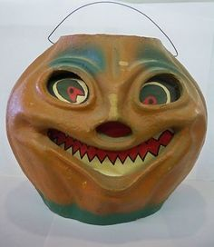 Vintage Halloween Paper Mache ~ Scary Jack O Lantern w/ Wire Handle.