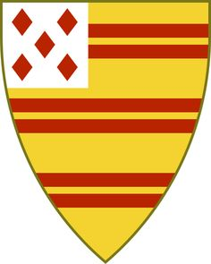 Hirme : Or three bars gemel gules on a canton argent five lozenges in saltire gules (CC) Ant Allan 2010-2012