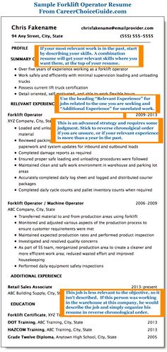 this forklift operator resume shows you how to write an effective resume when your most relevant work experience is in the past
