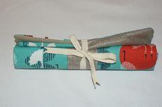 Etui/Pochette roulée à couverts en Lin argenté et Coton bio imprimé grues  : Accessoires de maison par kumoandfriends