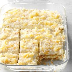 Pina Colada Icebox Cake Recipe -This icebox cake has all of the flavors of a piña colada. It takes just one bite to escape to a tropical island! No Bake Summer Desserts, Köstliche Desserts, Delicious Desserts, Icebox Desserts, Icebox Cake Recipes, Best Dessert Recipes, Hawaiian Dessert Recipes, Tropical Desserts, Dinner Recipes