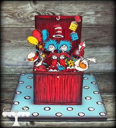 Seuss Cat in the Hat cake Take The Cake, Love Cake, Fancy Cakes, Cute Cakes, Dr Suess Cakes, Hat Cake, Painted Cakes, Decorated Cakes, Character Cakes