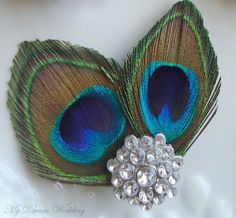 Peacock Feather Hair Clip Bride Bridal by MyDreamWedding on Etsy, $26.99