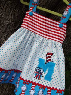 Dr. Seuss Cat in the Hat Dress, Thing 1&2 Monogram, sizes 12 mo.-3T. $57.00, via Etsy.