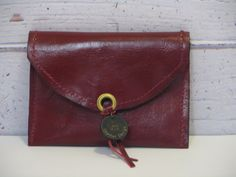 Change money burgundy leather wallet change pouch coin by LikaMia