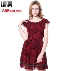 Laisiyi Brand New Wine Red Women Dress Hook Flower Sexy Open Back Bandage  Vestido De Feast a86e14eb5b0d