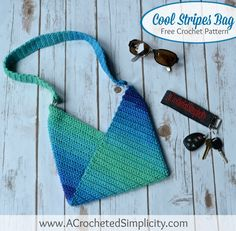 Free Crochet Pattern - Cool Stripes Bag by A Crocheted Simplicity envelope bagHow to Sew a Mattress Stitch Seam - A Crocheted SimplicityThe Best Free Crochet Tote Patterns for Get Ready for the beach and farmers' market!Do you love to use striped or var Crochet Basket Pattern, Crochet Tote, Tote Pattern, Crochet Handbags, Purse Patterns, Crochet Purses, Crochet Crafts, Free Crochet, Crochet Patterns