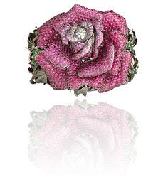 WENDY YUE - Rapacious Rose   18 Karat White Gold Bangle w/ White Diamond, Pink Sapphire, Ruby, Tsavorite