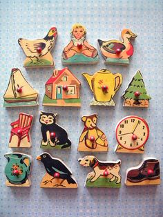 Vintage Wooden Puzzle Pieces from Children's by SongbirdSalvation