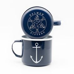 "It's National Coffee Day so we figured we'd introduce you to our New Hold Fast Anchor Mugs. Inside these oversized enamels is written a reminder for sailers to ""hold fast"" bear down or stay the course when conditions get tough. We hope you enjoy a good cup of jo today. Mugs available at http://ift.tt/1xSSECz  #aksalmonsisters #nationalcoffeeday #enamelmug #holdfast #coffeecup #anchor #smallbusiness #nautical"