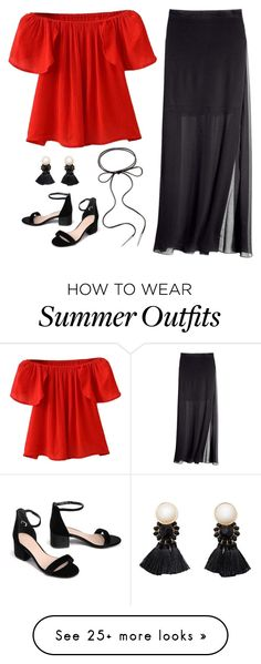 """Red and Black Simple Summer Outfit"" by basicstarks on Polyvore featuring WithChic, H&M, Violeta by Mango and Kendra Scott"