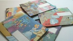 old children's books recycled into envelopes.